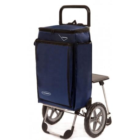 Wózek na zakupy Aurora Piknik Rybak Granatowy z krzesełkiem