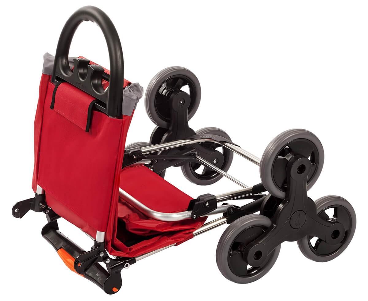 W połowie rozłożony wózek na zakupy Aurora Amalfi Click Czerwony