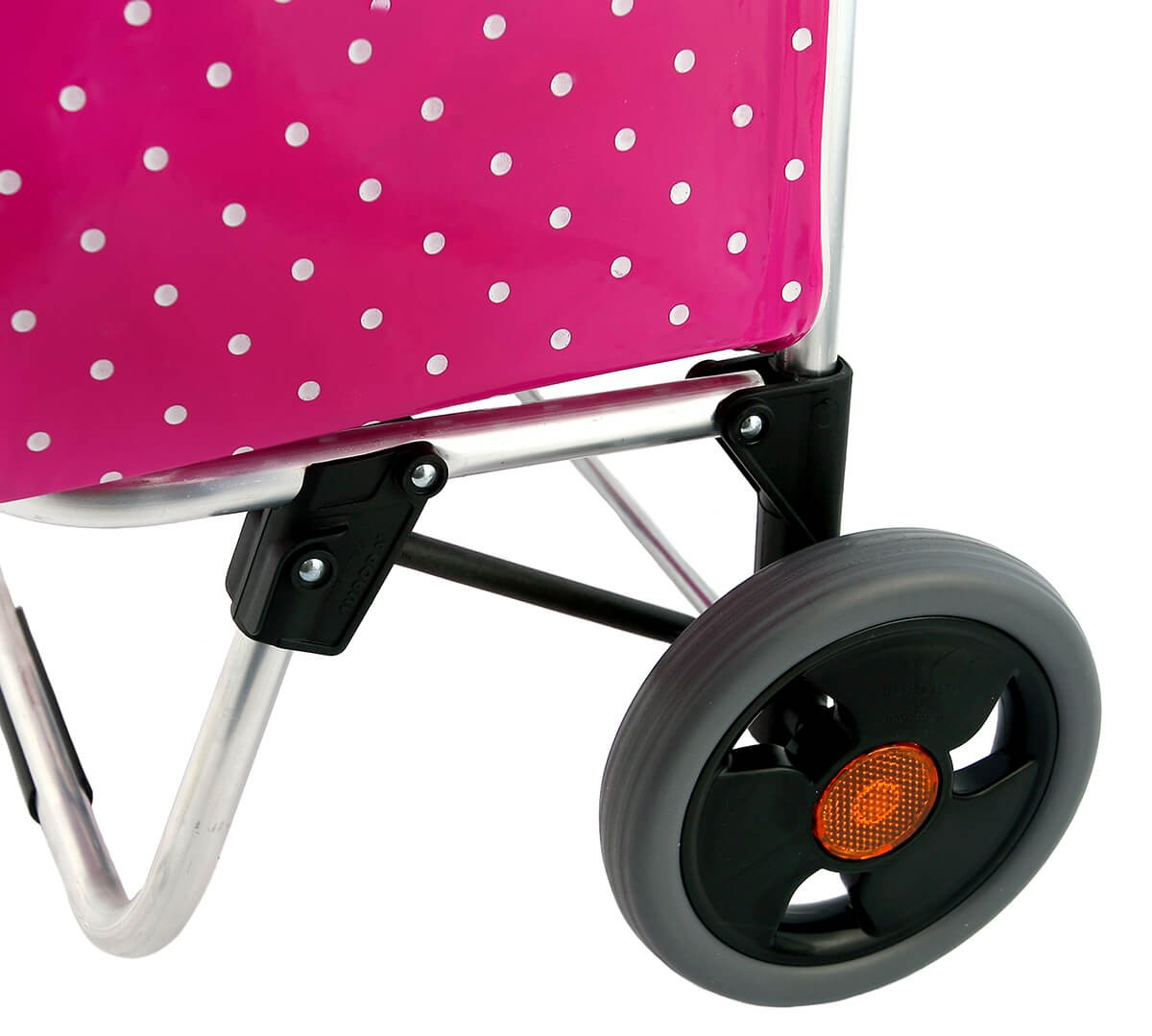 Kółka wózka na zakupy Aurora City Marilyn z widocznymi odblaskami